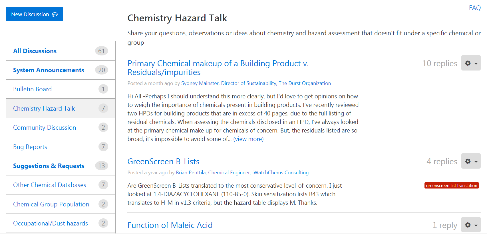 Chemical Hazard Data Commons by HBN - Discussions